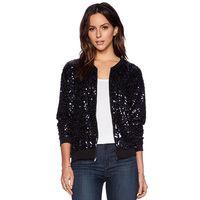 European And American Fashion New Design Women S Handsome Long Sleeved Shiny Sequined Jacket Lady Baseball