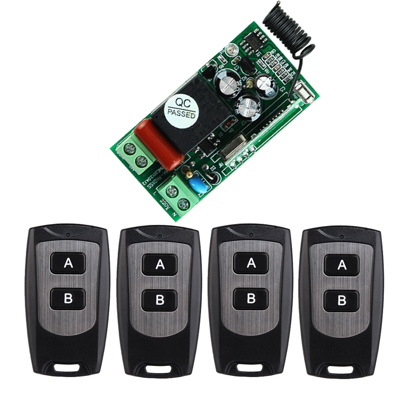 AC 220 V 1CH 1500W Wireless Remote Control Switch System Receiver Transmitter 4PCS 2 Buttons Waterproof Remote 315mhz/433.92mhz ac 220 v 1 ch wireless remote control switch system 4x transmitter with 2 buttons 1 x receiver light lamp ledon off 315 433mhz