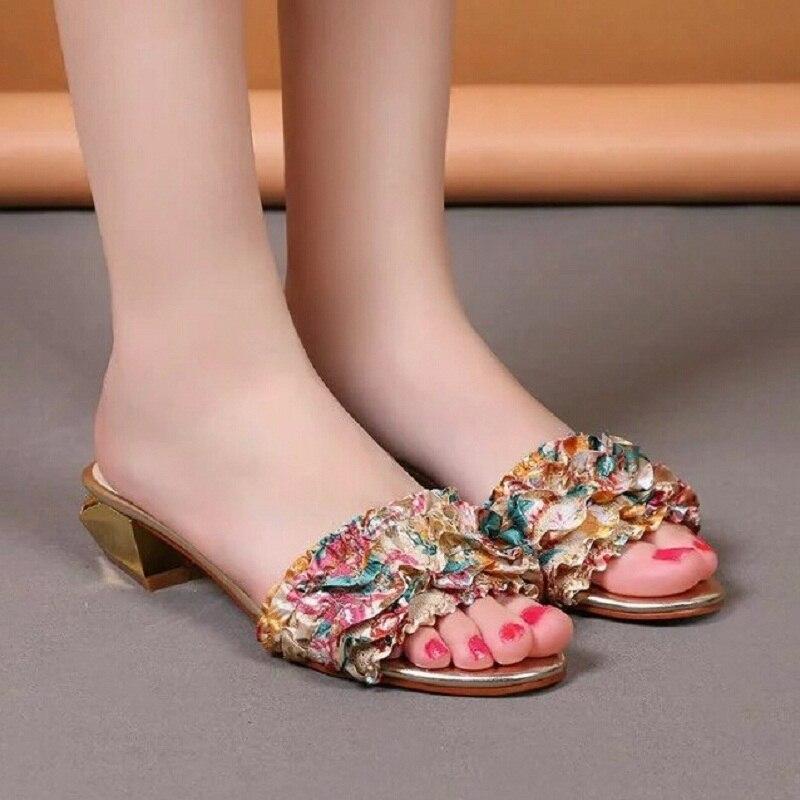 ФОТО Brand Silk Rhinestone Decoration Women Summer Pink Slippers High heel Slides Flip Flops Female Ladies Gladiator Sandals Woman