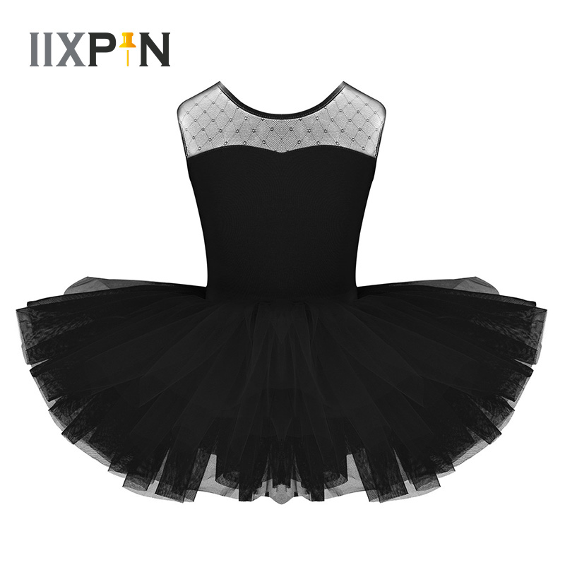 IIXPIN Kids Girls Ballet Dress Stretch Mesh Splice U-shaped Back Ballet Dance Gymnastics Leotard Tutu Dress For Girls Dancewear