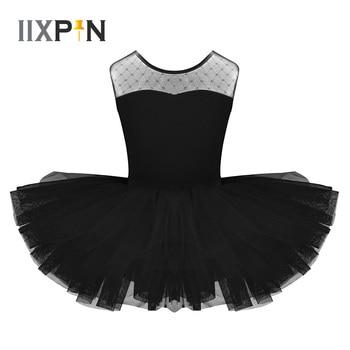 IIXPIN Kids Girls Ballet Dress Stretch Mesh Splice U-shaped Back Ballet Dance Gymnastics Leotard Tutu Dress For Girls Dancewear