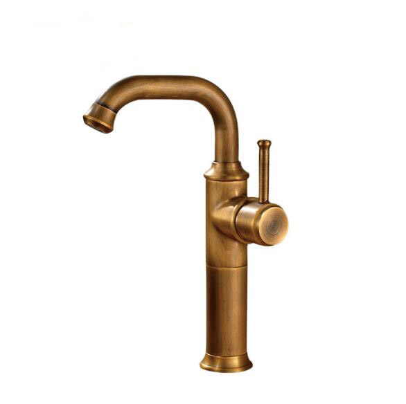 High grade Antique faucet bathroom hat and cold water basin mixer tap single handle and single hole sink faucets accessories