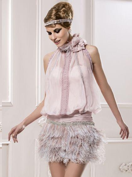 Pink Chiffon Cocktail Dress Mini Sheath Beading Feather Appliques Halter Sleeveless Party Dresses Vestido De Festa Curto De Luxo
