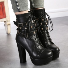 Rivets Belt Buckle Heavy-bottomed Thick High Heels Crossed Lace-up Martin Boots 2016 Winter New Hot Sale Booties Shoes Black PU