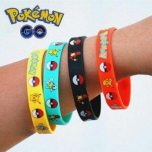 Image 5 - 40pieces Pokemon Go Silicone Bracelets Pikachu Pocket Monster Bangles Hologram Wristbands Party Favors Gift