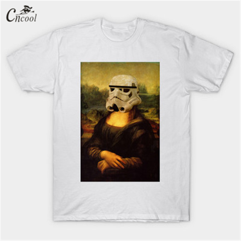 Cncool 2018 Streetwear Mans T-shirt Wearing Helmet Mona Lisa Smile Printing Shirt Short Sleeve New T shirt Spring Summer