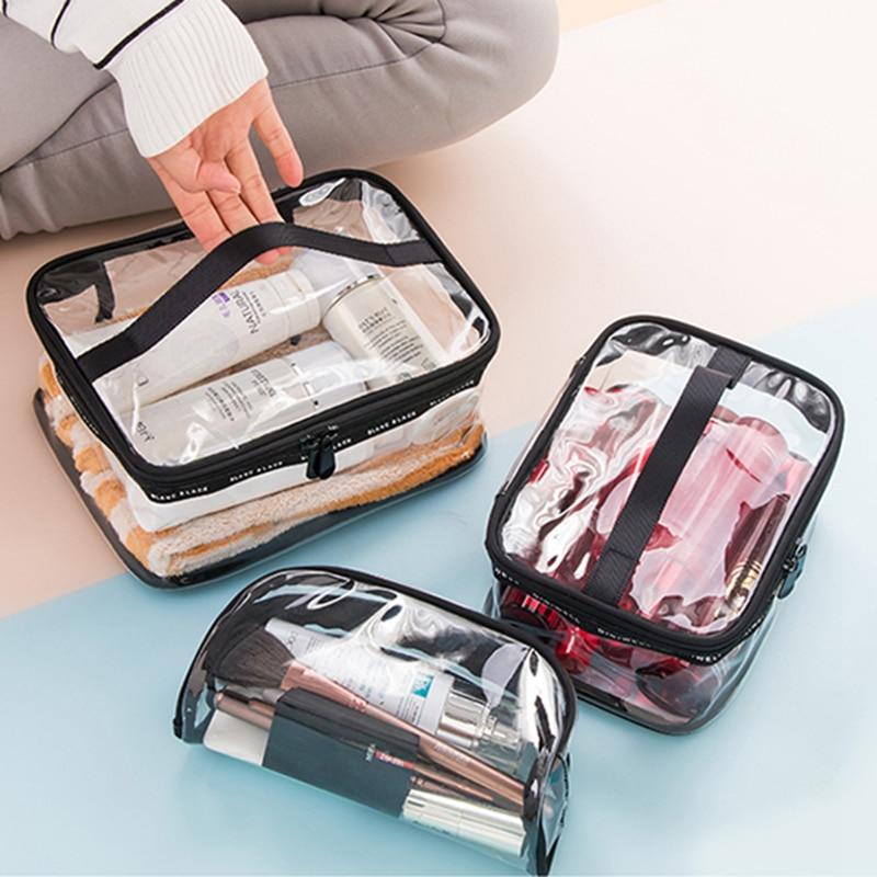 Waterproof Transparent PVC Bath Cosmetic Bag Make Up Case Travel Zipper Women Makeup Beauty Wash Organizer Toiletry Storage Kit