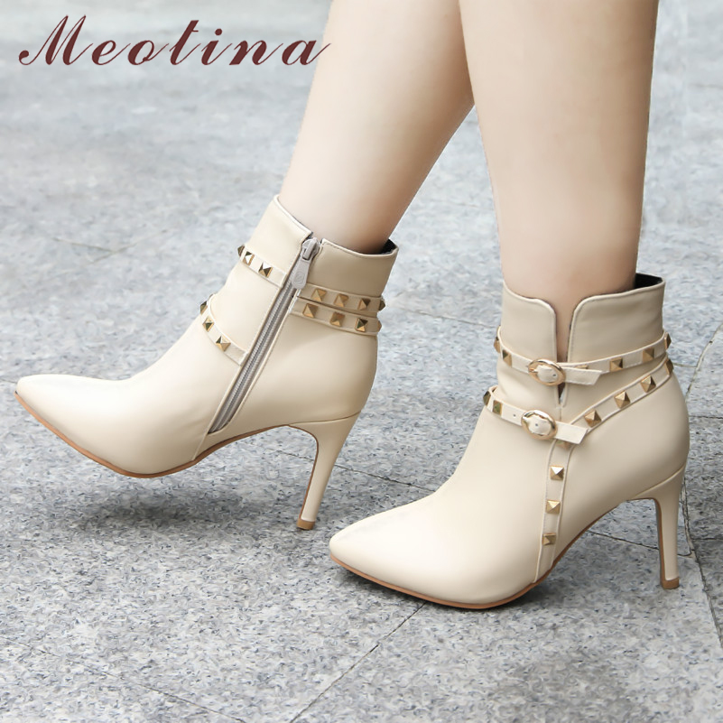 Meotina Shoes Ankle-Boots Rivets Handmade Pointed-Toe High-Heel Winter Women Ladies Zip