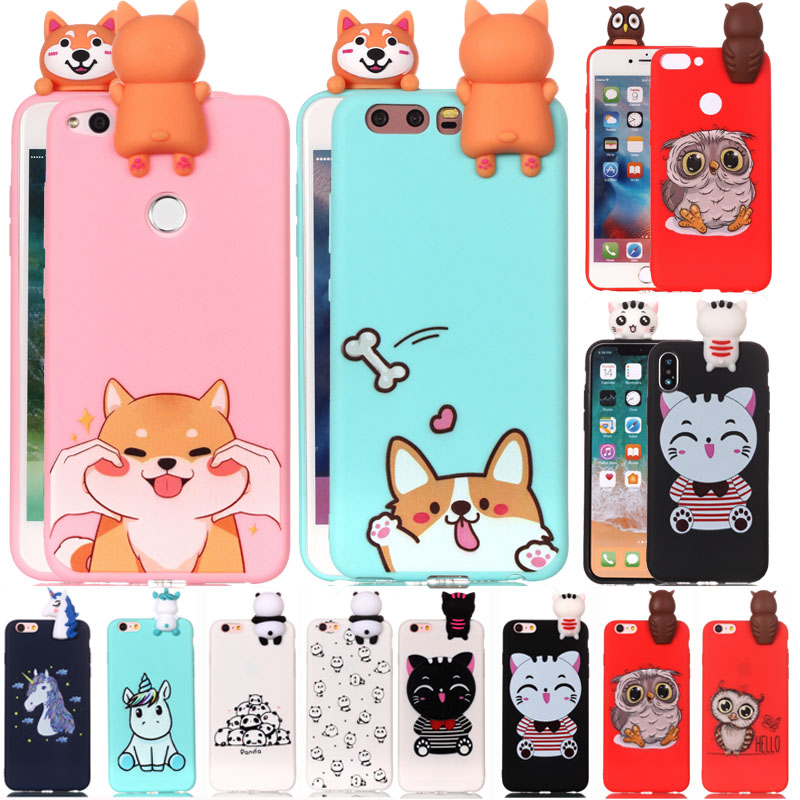 3d Fashion Cartoon Unicorn Cat Dog Panda Soft Silicone Case For Huawei Mate 10 P8 P10 P20 Honor 9 Lite Nova 3e 2i P Smart 2017 Bracing Up The Whole System And Strengthening It