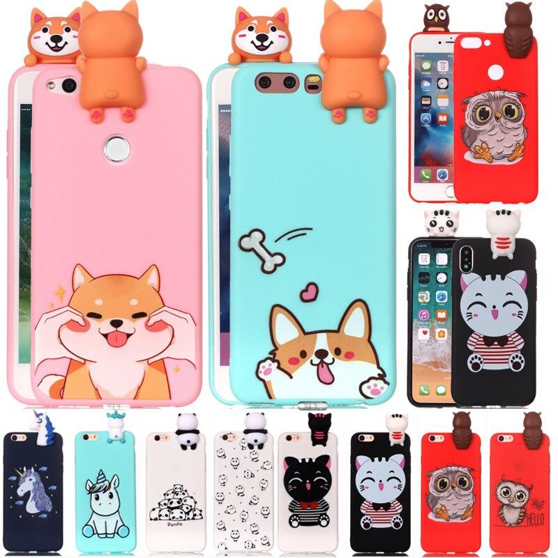 4ea7962ec98 3D Fashion Cartoon Unicorn Cat dog panda Soft Silicone Case For Huawei mate  10 P8 P10 P20 honor 9 lite Nova 3e 2i P Smart 2017