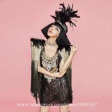 Пикантные женские Вечерние вечернее платье черный Цвет DS костюмы этап производительности DS певица танца Маскарад Костюмы с Головные уборы