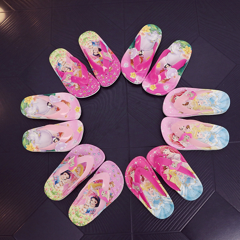 2019 Summer Children Girls Princess PVC Beach Slippers Non-slip Flip Flop  3KINDS 2COLORS XQ01