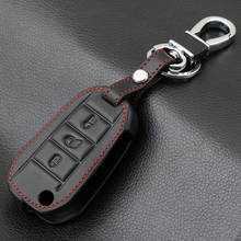 3 düğme hakiki deri araba anahtarı durum için Peugeot 3008 208 308 508 408 2008 koruyucu kapak tutucu cilt bakımı aksesuarları