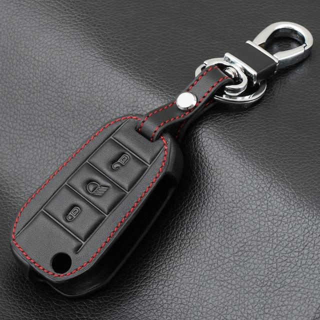 3 pulsante Chiave Dellautomobile del Cuoio Genuino di Caso per Peugeot 3008 208 308 508 408 2008 Della Copertura Della Protezione Del Supporto Della Pelle Auto accessori