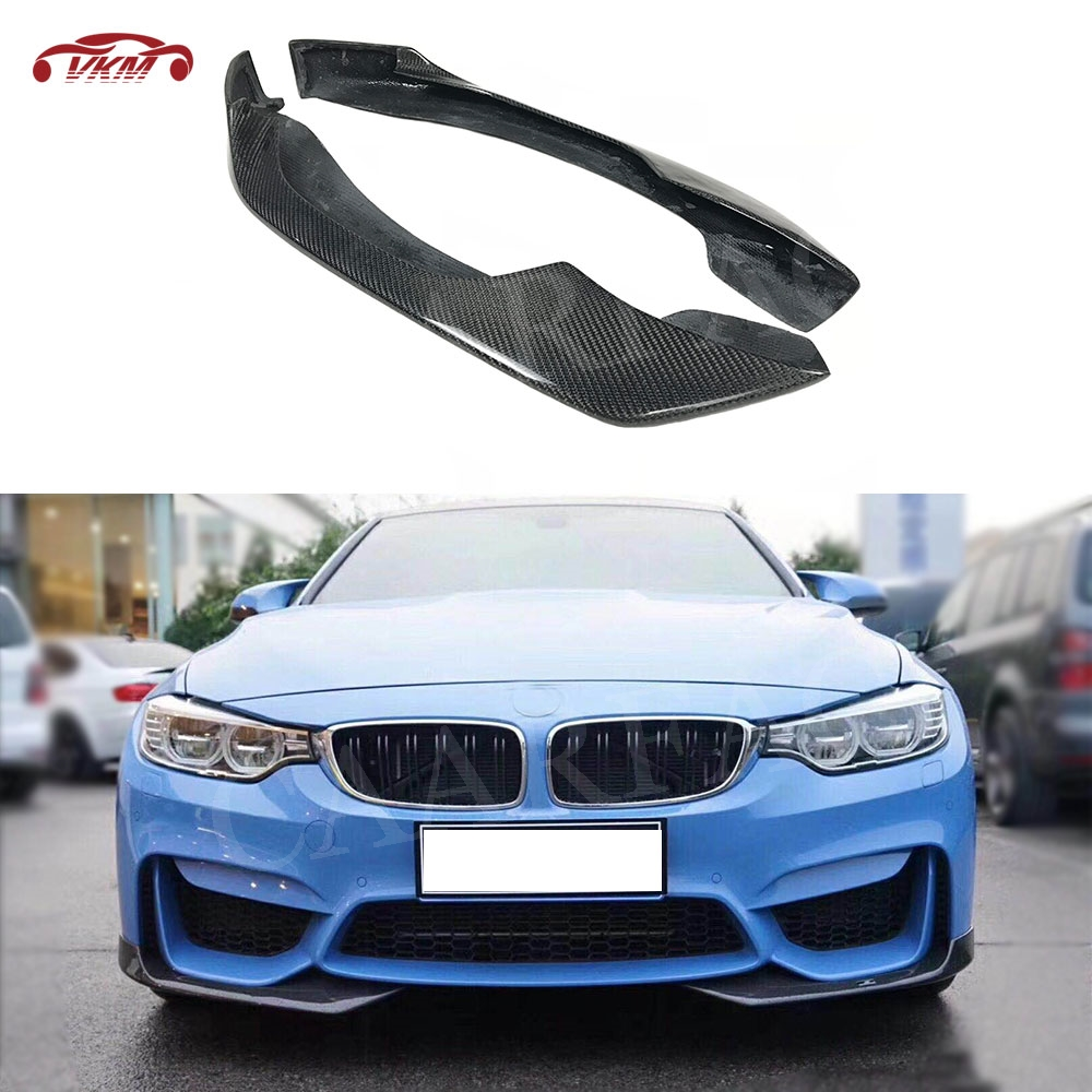 3 4 Series Carbon Fiber Front Lip Splitters Flap Cupwings For BMW F80 M3 F82 F83 M4 2014-2017 2PCS Head Lip Guard Decoration image