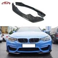 3 4 Series Carbon Fiber Front Lip Splitters Flap Cupwings For BMW F80 M3 F82 F83 M4 2014 2017 2PCS Head Lip Guard Decoration