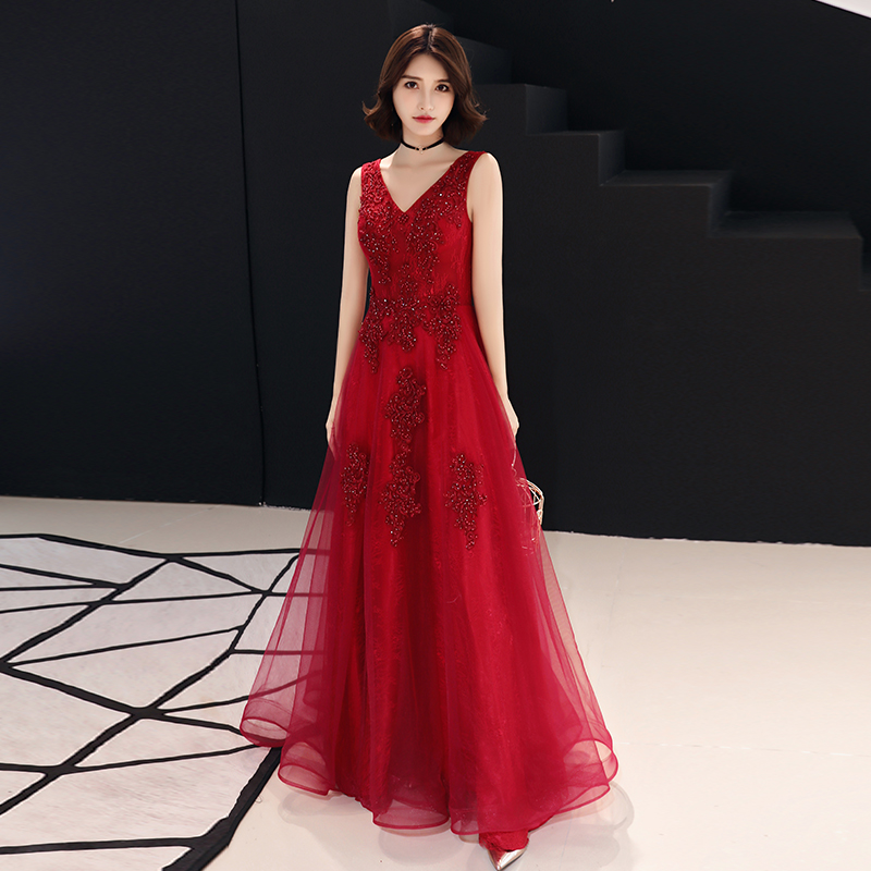 Wine Red   Evening     Dress   2019 New Fashion Sexy V-neck Backless Appliques Beading A-line Prom Party   Dresses   Floor Length