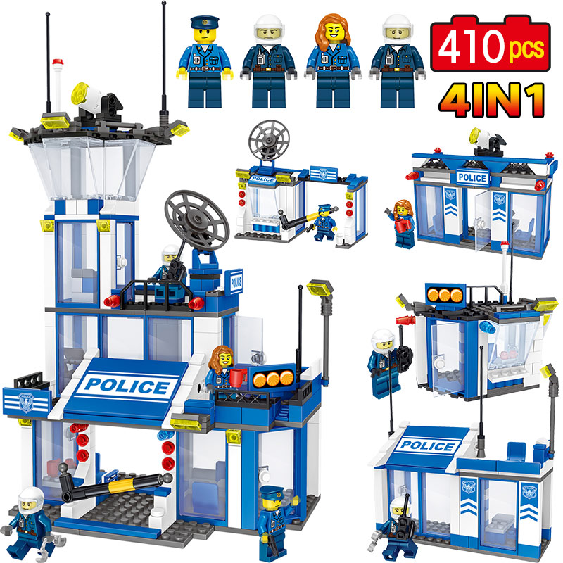 4 In 1 Police Station Radar Building Blocks Set Compatible Legoingly City Figures Construction Bricks Child Toys Christmas Gifts 3 in 1 multi function stud metal ac voltage scanner detector tester thickness gauge w ncv test mastech ms6906 wall scanner