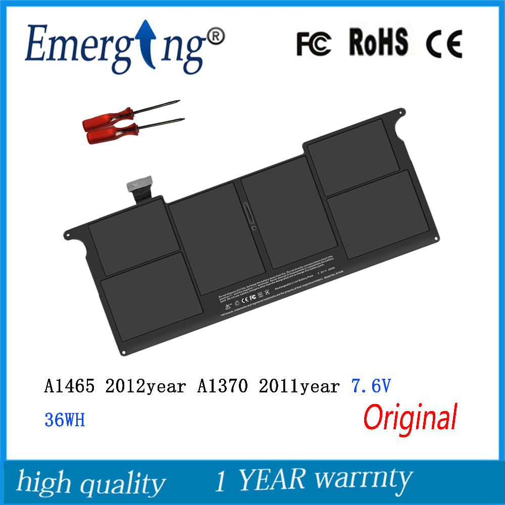 7.6v 36Wh New Original A1495 Laptop Battery for Apple MacBook Air 11 A1370 2011 A1465 Mid 2012 Mid 2013 2014 With Tools