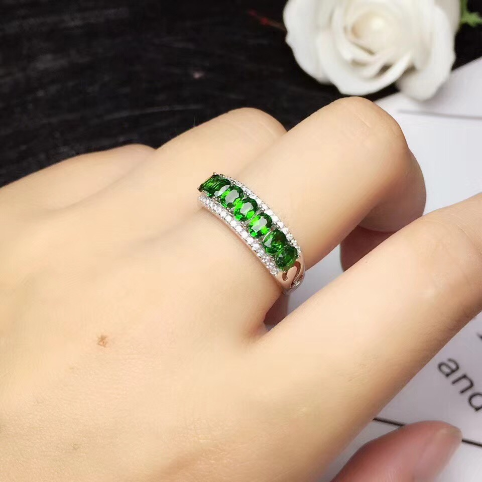 Natural Diopside ring Free shipping Natural green diopside 925 sterling silver Fine jewelry ring For men or women 3*4mm 7pcs women fashion silicone ring 7pcs pack