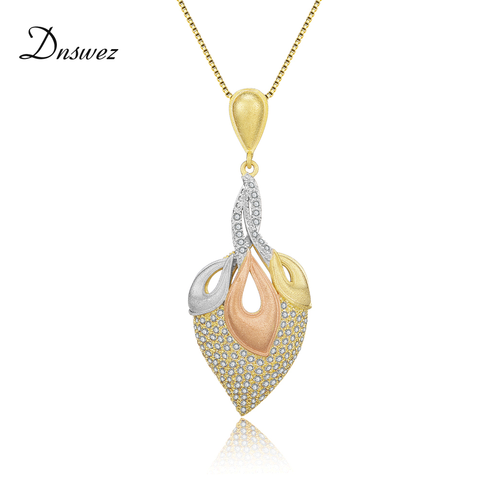 Dnswez Pave Setting Zircon Pendant Necklace for Women High Level Three Tone Gold Sandblasting Frosted Brass Tricolor Jewel CN421
