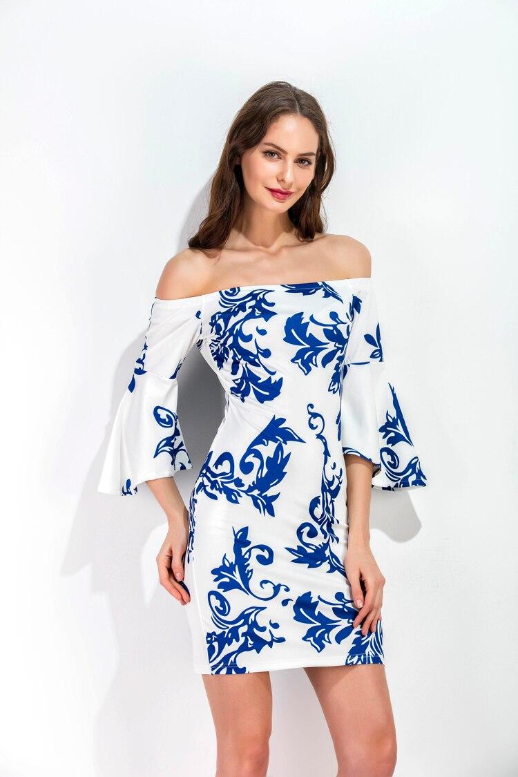 Cocktail dress 3 4 sleeve off shoulder tunics