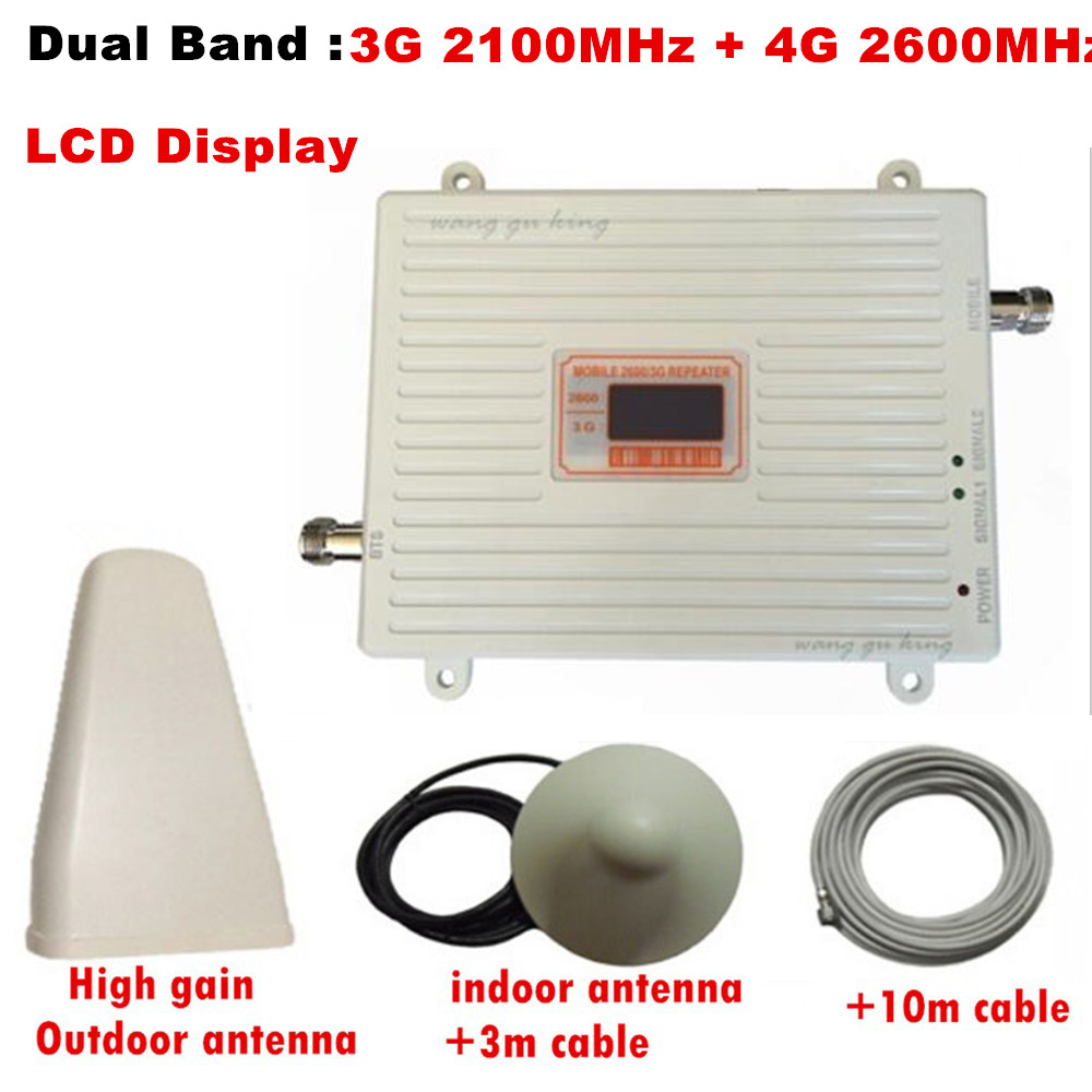 Gain 70dB LTE 2100 & 2600MH Dual Band cellular amplifier gsm 3G 4G WCDMA 2100 LTE 2600 Mobile Signal Repeater with lcd displayGain 70dB LTE 2100 & 2600MH Dual Band cellular amplifier gsm 3G 4G WCDMA 2100 LTE 2600 Mobile Signal Repeater with lcd display