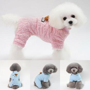 25d47d056 A prueba de viento perro de cuatro patas abrigo de algodón perro otoño e  invierno cálido estilo ropa Casual Unisex sólido y rosa azul