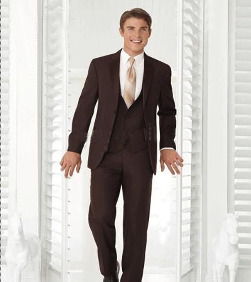 Brown Wedding Tux: Custom Made Brown Groom Tuxedos Notch Collar Groomsmen Men