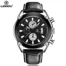 LIANDU Chronograph Casual Watch Men Luxury Brand Quartz Military Sport Watch Genuine Leather Men's Wristwatch relogio masculino цена 2017