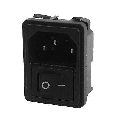 Black SPST Rocker Switch C14 3Pin Male Plug Inlet Power Socket AC250V 10A 10pcs 2pin spst locking snap in boat rocker switch 6a ac250v 10a 125vac kcd1 106