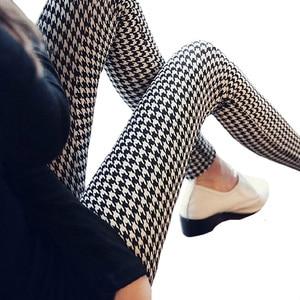 Image 1 - CUHAKCI Graffiti legginsy wzór w kwiaty drukuj legginsy dla kobiet legginsy Houndstooth sprzedaż elastyczna konstrukcja Vintage legginsy W056