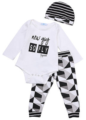 3pcs Kids Baby Boys Girls Clothes White Long Sleeve Romper T shirt Print Pants Striped Hat