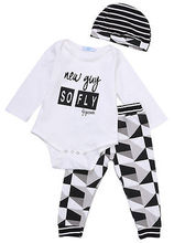 3pcs Kids Baby Boys Girls Clothes White Long Sleeve Romper T-shirt  Print Pants Striped Hat 0-2years