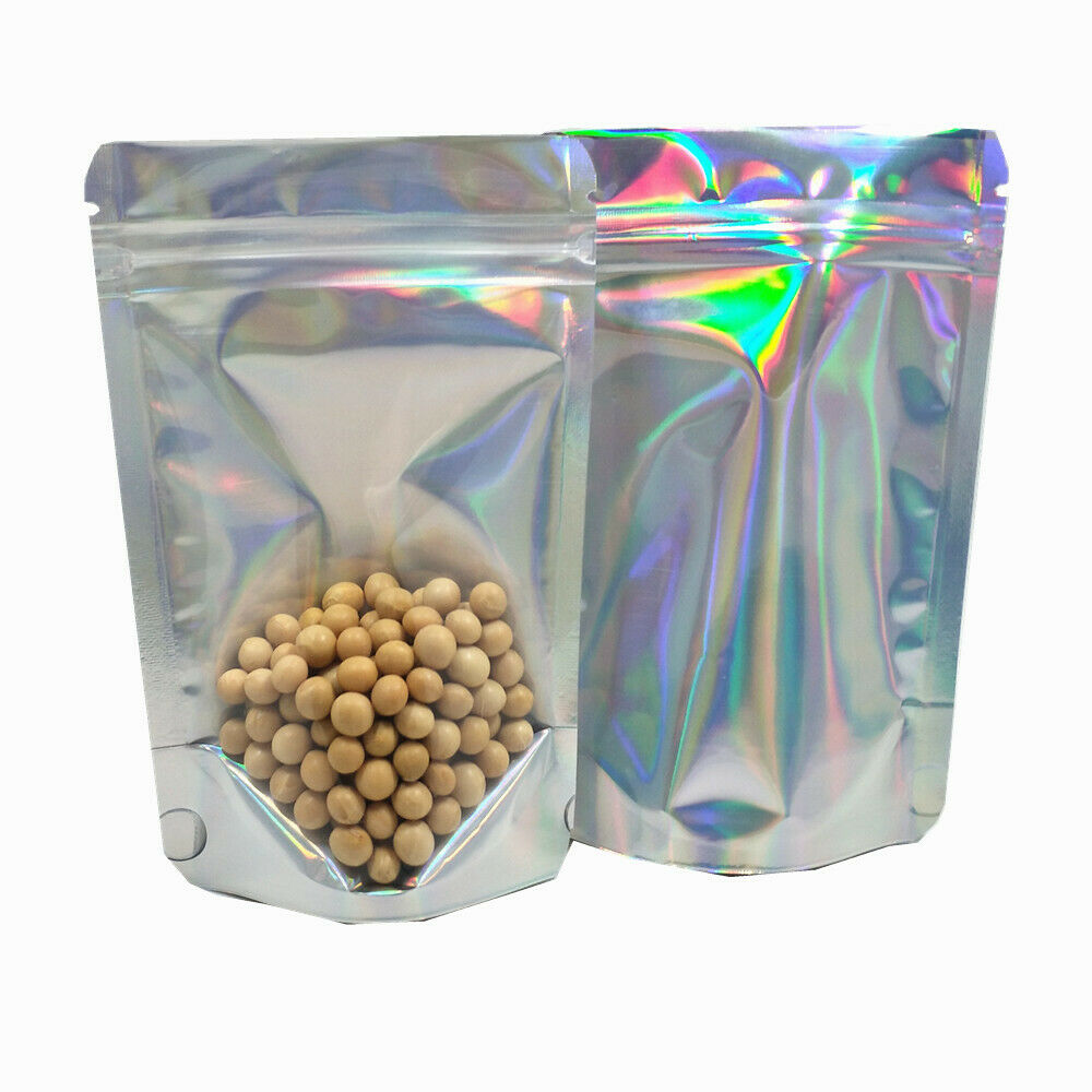 """100 Clear Front Red Foil Back Mylar Zip Lock Bags 8.5x13cm 3.3x5.1/"""""""