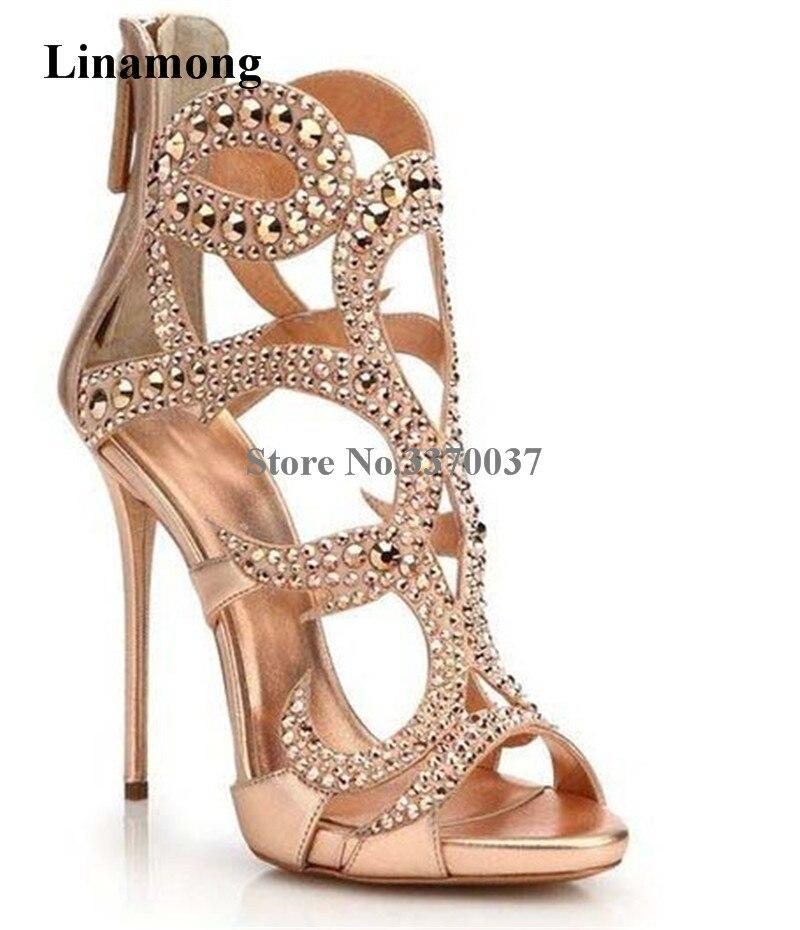 Kobiety luksusowe Bling Bling klatka styl Rhinestone Sandały gladiatorki złoty czarny kryształ Super sandały na wysokim obcasie buty ślubne w Wysokie obcasy od Buty na  Grupa 1