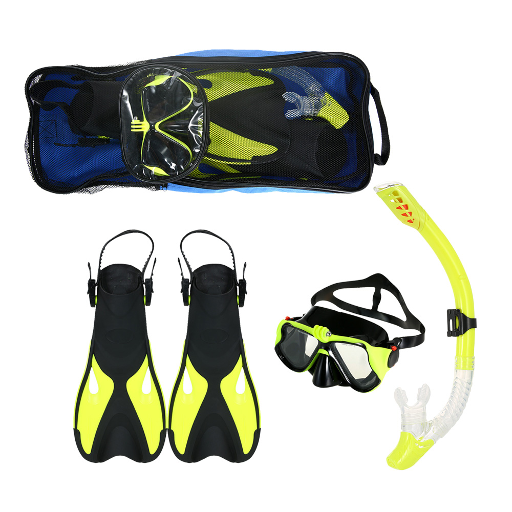 Snorkeling Goggles Combo Set Anti fog Goggles Mask Snorkel Tube Fins with Gear Bag for Men