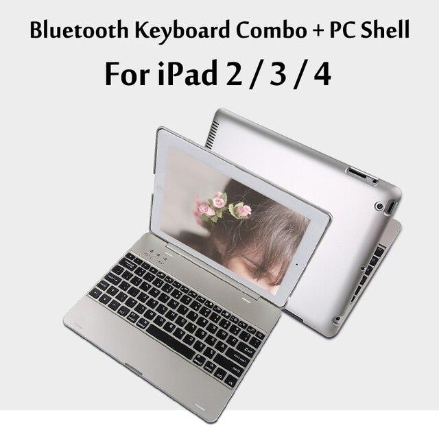 Cho iPad2/3/4 Sang Trọng Không Dây Bluetooth 3.0 Bàn Phím Sao Lưu Xây Dựng-in Battery Trường Hợp Che Với Đứng cho iPad 2/3/4 + Quà Tặng