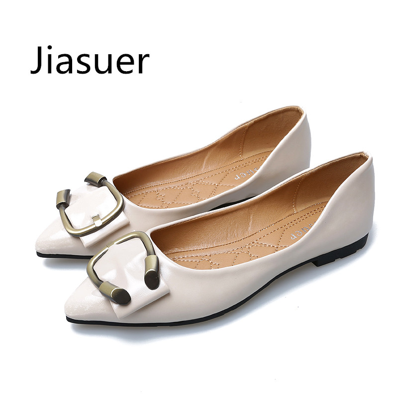 JIASUER Women Shoes Woman Flats New Fashion PU Leather Shallow Mouth Pointed Casual Shoes Female Metal Buckle Leisure Shoes women ladies flats vintage pu leather loafers pointed toe silver metal design