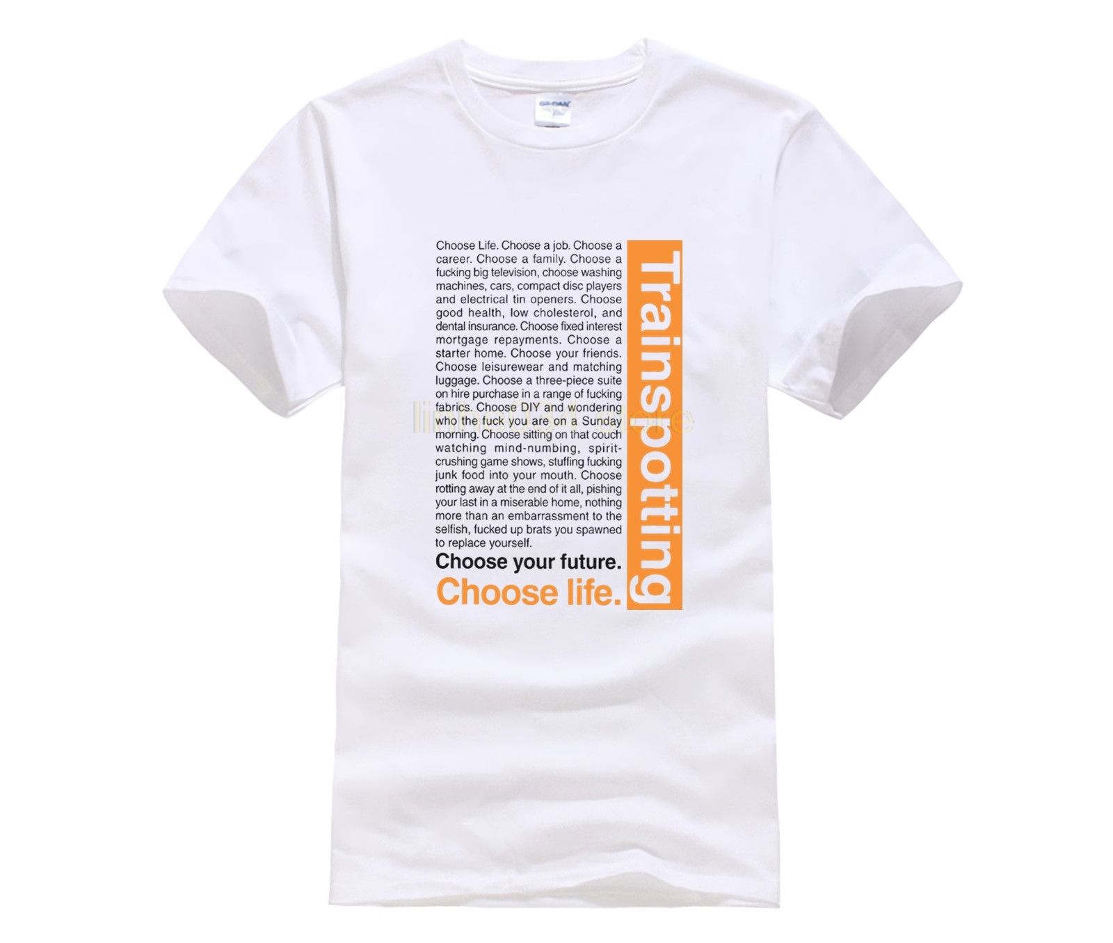 Cool Slim Fit Letter Printed Choose Life Trainspotting Middle Aged   T     Shirt   Personalized