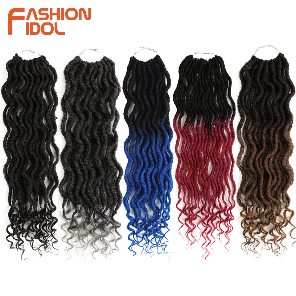 FASHION IDOL Faux Locs Crotchet Hair Extensions 20 inch Crochet Braids Soft Natural Synthetic Hair Ombre Blue Brown Hair Braids(China)