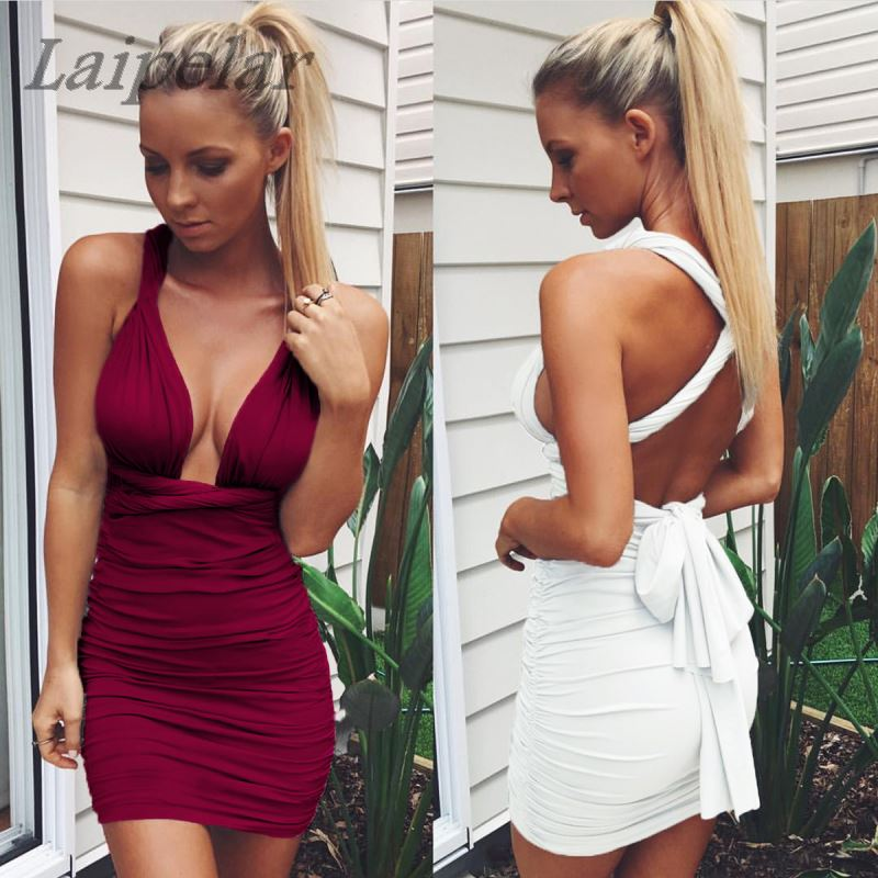 2018 summer hot selling v neck tight wrinkled dress Red wine sexy mini dresses A110011 Laipelar in Dresses from Women 39 s Clothing