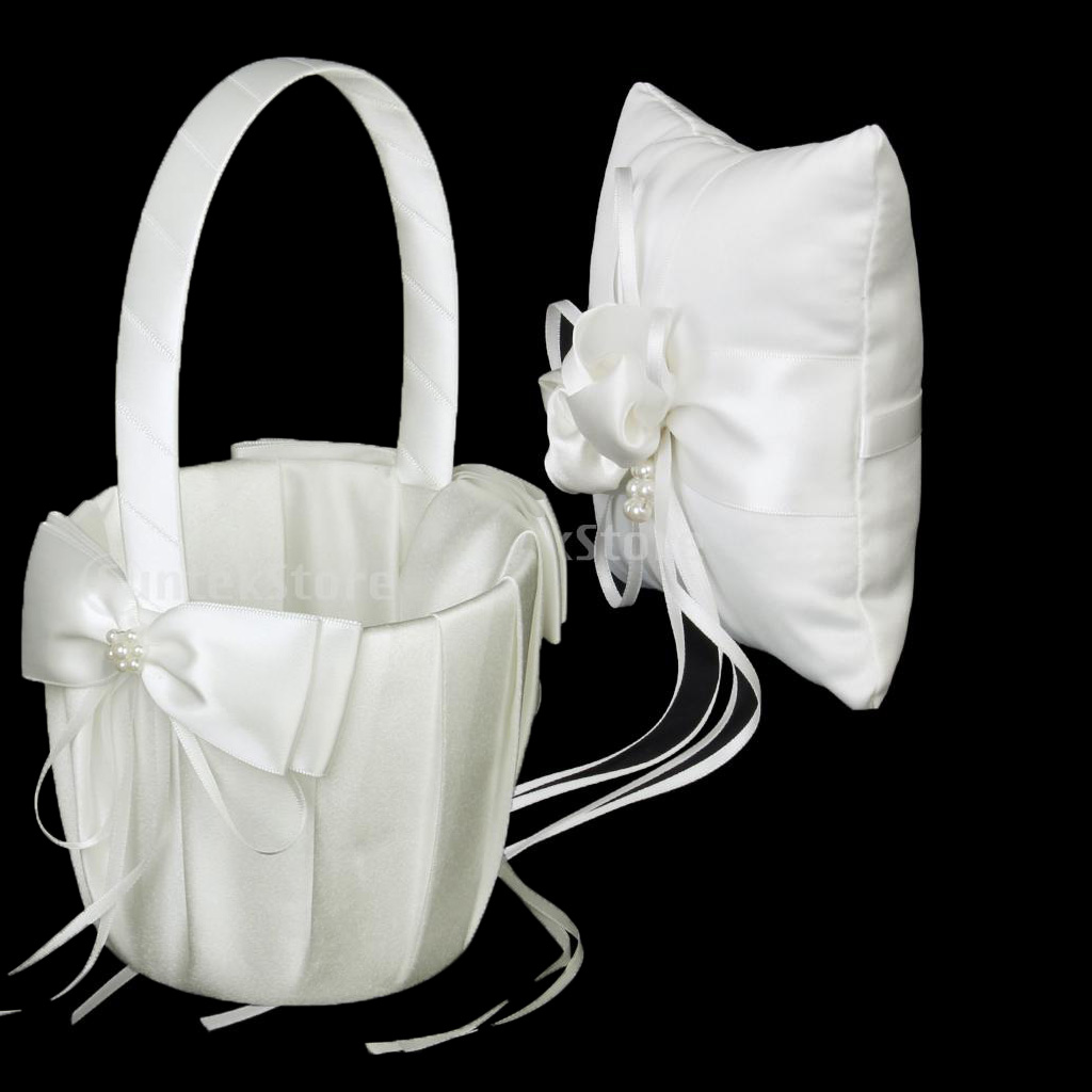 New Wedding Ceremony Supplies Ivory Satin Crystal Ring Bearer Pillow + Flower Girl Basket Cushion Holder Wedding Decor Accessory