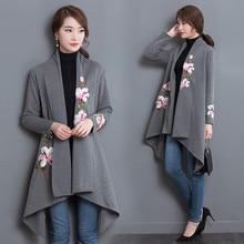 New women loose windbreaker knit cardigan sweater coat woman national wind retro long section lapel flower embroidery