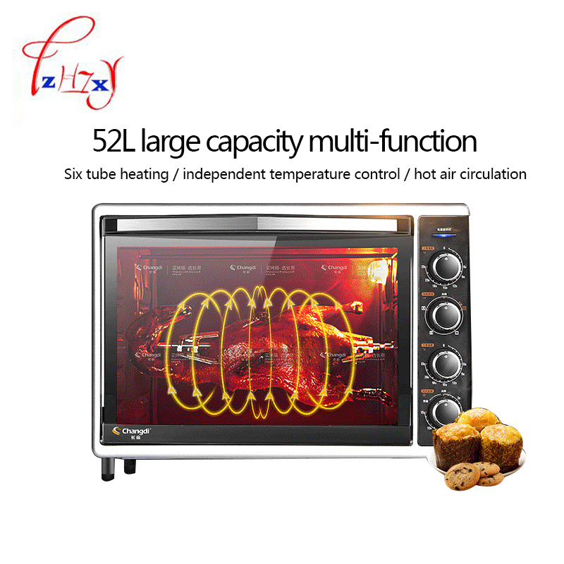Four électrique à usage domestique 52L grande capacité 2000 w Machine de cuisson multifonction professionnelle pizza four à pain machine CRTF52W 1 pc