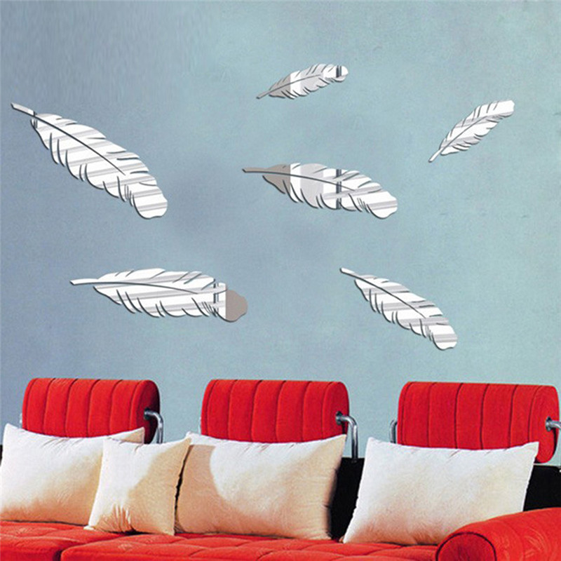 6pcs/set Feather Pattern Acrylic Mirror Effect Sticker Creative Wall Stickers Decorative Decals for Sofa Background Home Decor