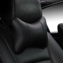Новое поступление, автомобильные подушки для шеи, обе стороны, искусственная кожа, один подголовник, подходит для большинства автомобилей, наполненные волокном, Универсальная автомобильная подушка