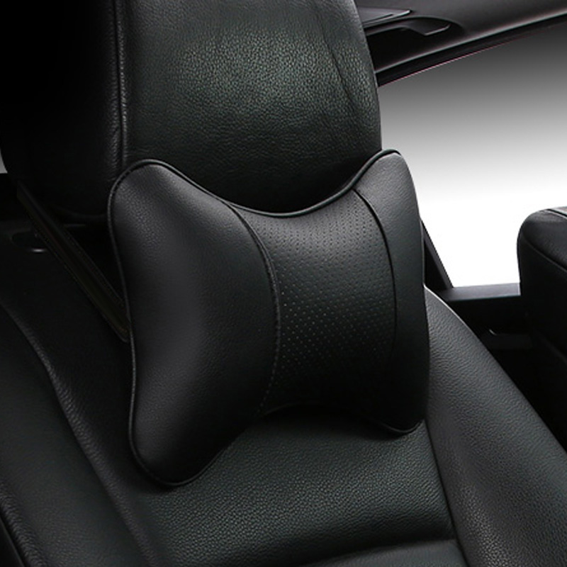 2019 brand new arrival car neck pillows both side pu leather single headrest fit for most cars filled fiber universal car pillow(China)