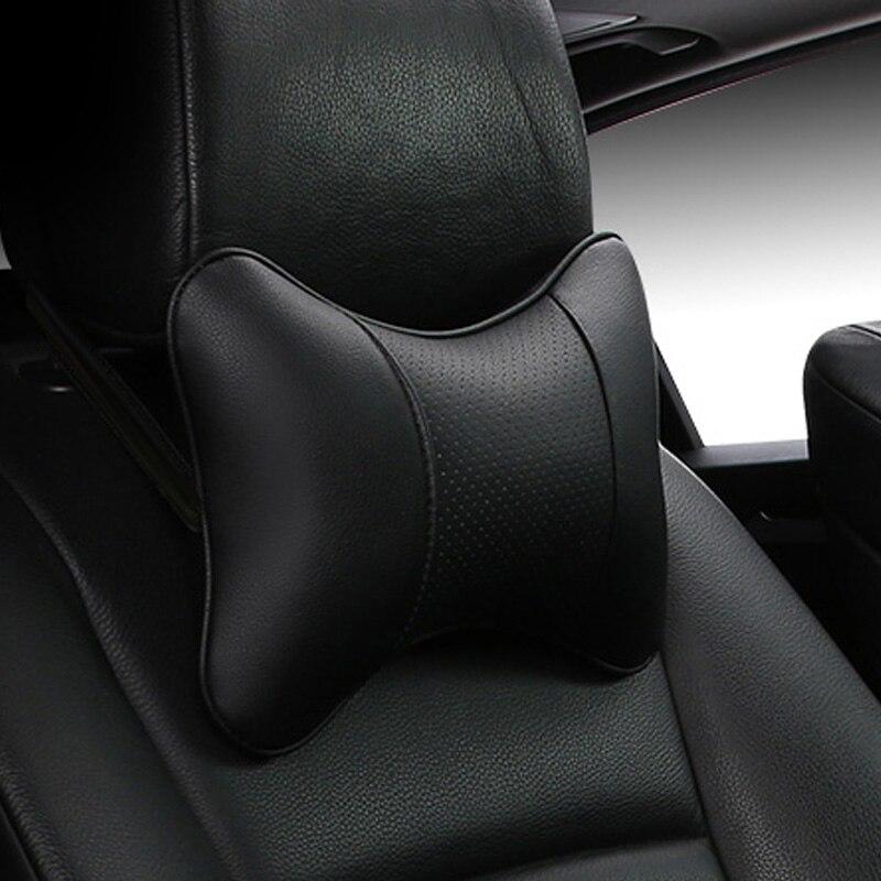 2019 brandnew chegada carro pescoço travesseiros ambos lado couro do plutônio único encosto de cabeça apto para a maioria dos carros cheio de fibra universal carro travesseiro