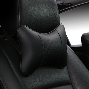 Image 1 - Car Neck Pillows 2 sides Pu Leather head support protector black/red universal headrest backrest cushion easy install and clean